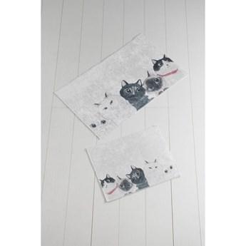 Komplet 2 biało-szarych dywaników łazienkowych Lismo Cats