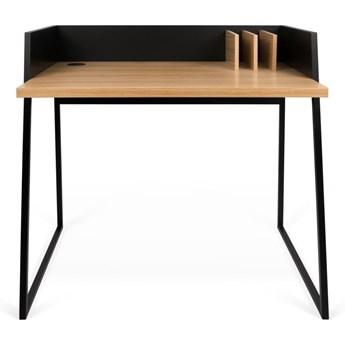 Czarne biurko z detalami w dekorze drewna dębowego TemaHome Volga