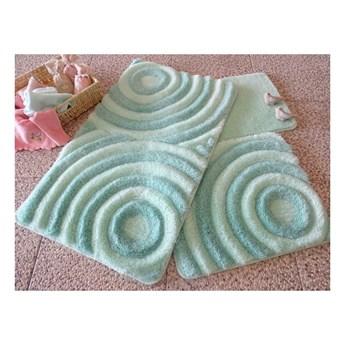 Zestaw 3 miętowych dywaników łazienkowych Wave