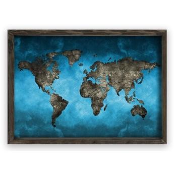 Obraz w drewnianej ramie Night World, 70x50 cm