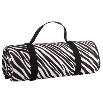 Czarno-biały koc piknikowy Navigate Zebra Stripes, 150x140 cm