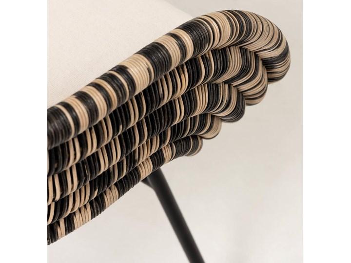 Fotel Lin 66x69 cm naturalno-czarny Wysokość 66 cm Kolor Beżowy Rattan Głębokość 66 cm Metal Styl Nowoczesny
