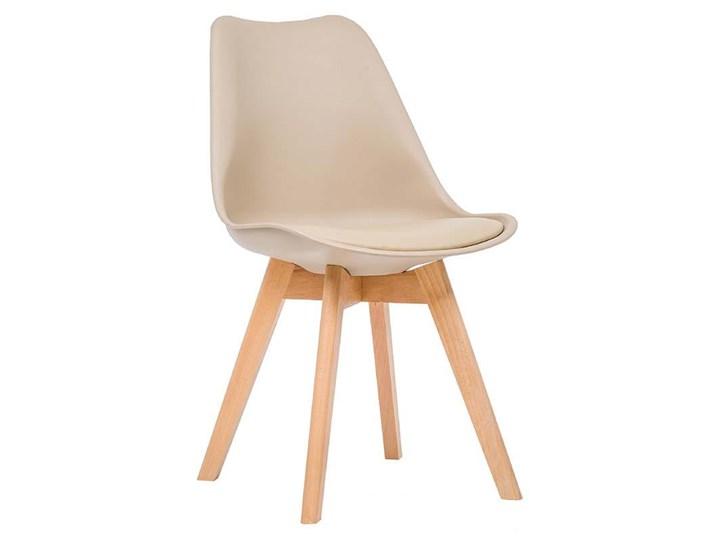 Krzesło skandynawskie beżowe 53E-7 nogi drewniane
