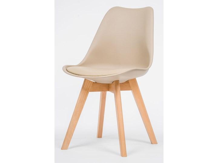 NOWOCZESNE KRZESŁO 53E-7 BEŻ, NOGI DREWNO Kategoria Krzesła kuchenne Tworzywo sztuczne Styl Nowoczesny