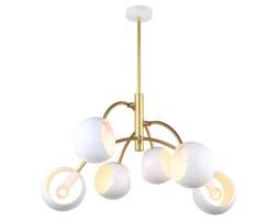 Sufitowa LAMPA plafon MELVO MDM-3691/6 GD+W Italux modernistyczna OPRAWA biała złota