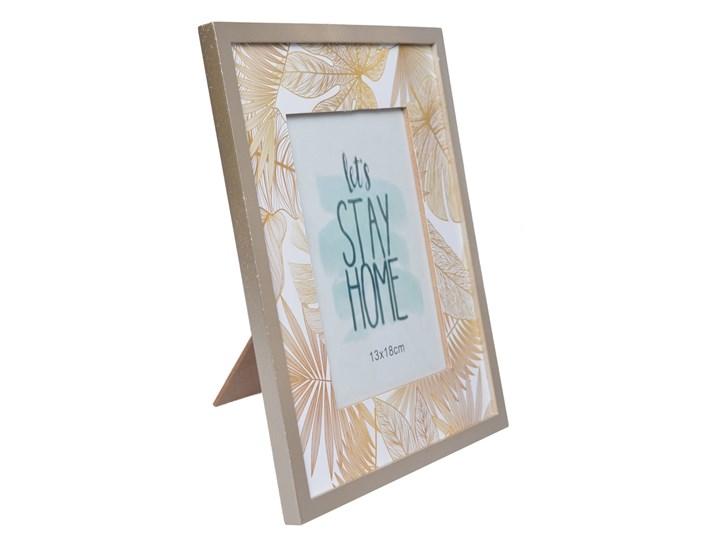 Złota ramka fotograficzna z liśćmi Diores 22x27 cm Drewno Kolor Szary