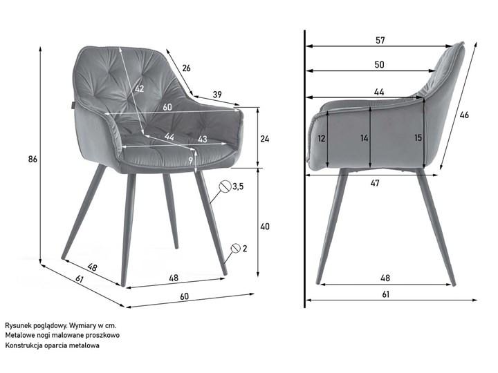 KRZESŁO TAPICEROWANE ▪️ BEN (DC-9220) ▪️ WELUR 10 Tworzywo sztuczne Metal Stal Pikowane Tkanina Z podłokietnikiem Pomieszczenie Salon Kategoria Krzesła kuchenne