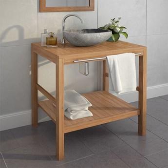 vidaXL Szafka łazienkowa z kamienną umywalką, drewno tekowe