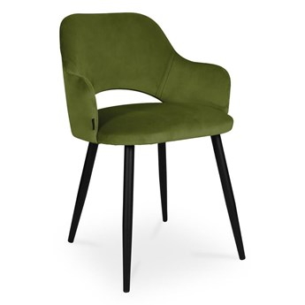 Bettso krzesło MARCY / oliwkowy / noga czarna / BL75