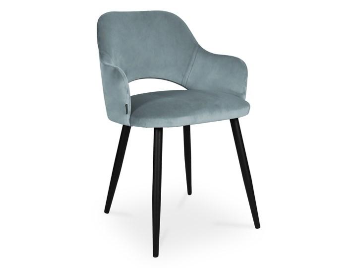 Bettso krzesło MARCY / srebrno-niebieski / noga czarna / BL06