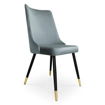 Bettso krzesło VICTOR / srebrno-niebieski / noga czarno-złota / BL06