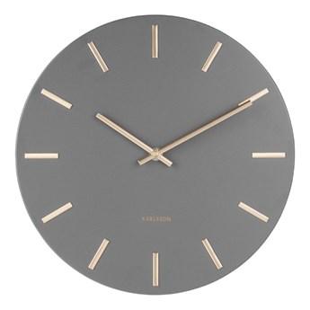 Szary zegar ścienny ze wskazówkami w kolorze złota Karlsson Charm, ø 30 cm