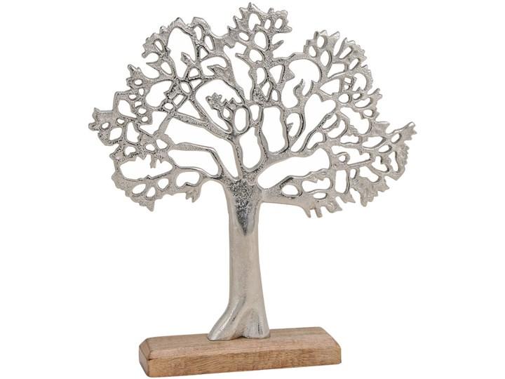 Dekoracja Figurka Drzewko Szczescia Metal Kolor Szary Drewno Kategoria Figury i rzeźby