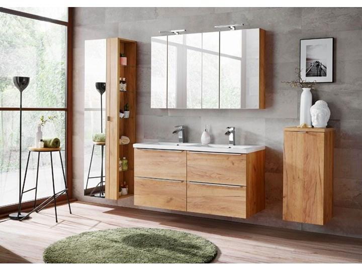 Pionowa podwieszana szafka łazienkowa z lustrem - Malta 6X Dąb Szafki Wysokość 170 cm Kolor Beżowy Wiszące Drewno Szerokość 45 cm Kategoria Szafki stojące