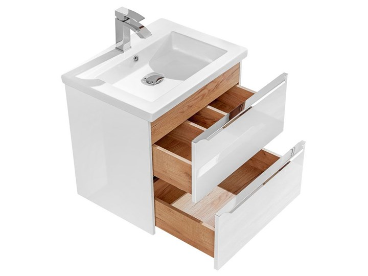 Podwieszana szafka łazienkowa pod umywalkę - Malta 3X Biały połysk 60 cm Wysokość 57 cm Szafki Wiszące Kategoria Szafki stojące