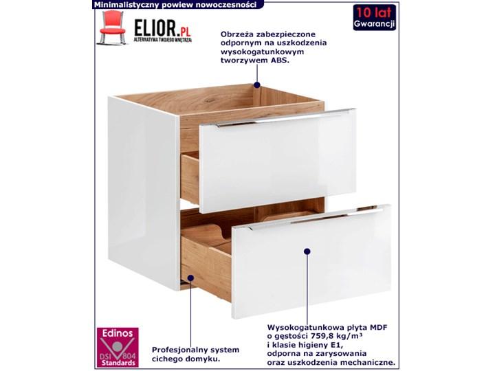Podwieszana szafka łazienkowa pod umywalkę - Malta 3X Biały połysk 60 cm Szafki Kategoria Szafki stojące Wysokość 57 cm Wiszące Kolor Beżowy