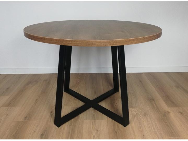Industrialny stół okrągły RING X 110 Dąb Lefkas ciemny Stal Metal Długość 110 cm  Szerokość 110 cm Drewno Wysokość 74 cm Rozkładanie