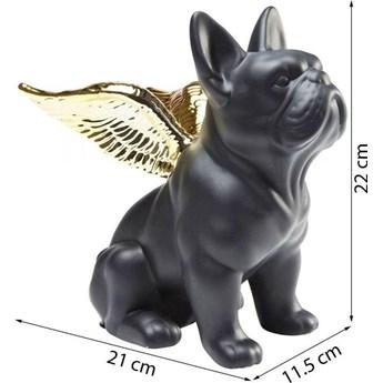 Figurka dekoracyjna Sitting Angel Dog 21x22 cm czarna