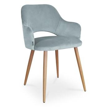Bettso krzesło MARCY / srebrno-niebieski / noga dąb / BL06