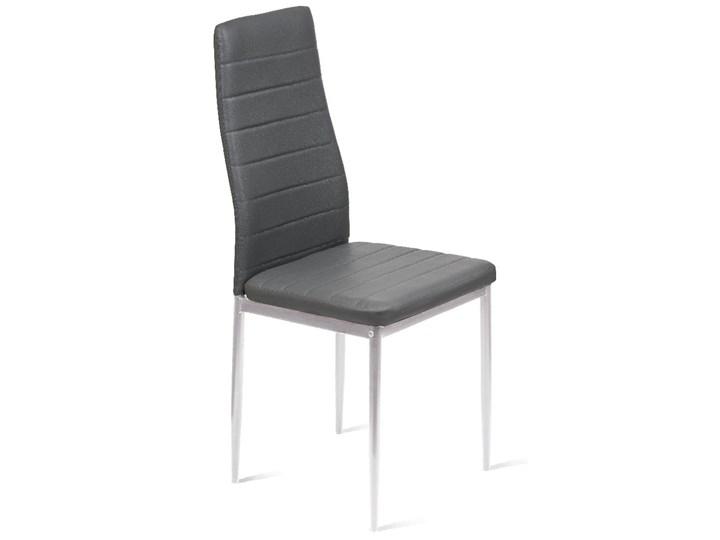 KRZESŁO TAPICEROWANE - K1 - WZÓR PASY, EKOSKÓRA POPIEL, NOGI SREBRNE Metal Skóra ekologiczna Tkanina Kolor Szary Kategoria Krzesła kuchenne