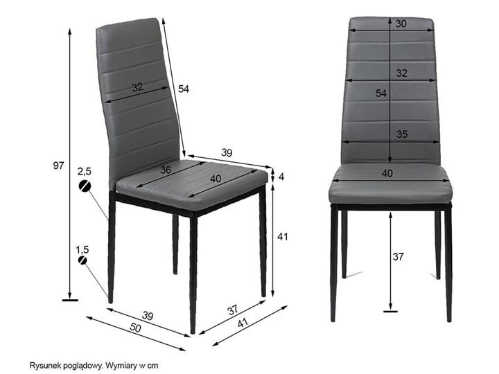 4 KRZESŁA TAPICEROWANE - K1 - WZÓR PASY, EKOSKÓRA POPIEL, NOGI SREBRNE Tworzywo sztuczne Kategoria Krzesła kuchenne Skóra ekologiczna Metal Tkanina Kolor Szary