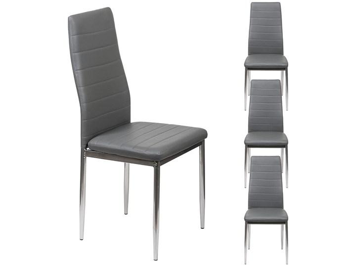 4 KRZESŁA TAPICEROWANE - K1 - WZÓR PASY, EKOSKÓRA POPIEL, NOGI SREBRNE Tkanina Metal Skóra ekologiczna Tworzywo sztuczne Kategoria Krzesła kuchenne Kolor Szary