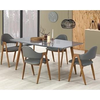 Nowoczesny szary stół z lakierowanym blatem 160x90, rozkładany