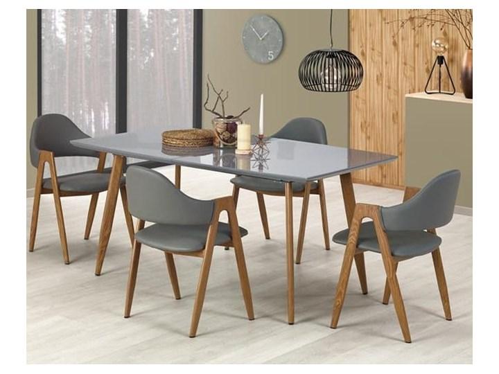 Nowoczesny szary stół z lakierowanym blatem 160x90, rozkładany Długość 160 cm  Szerokość 90 cm Wysokość 76 cm Długość 200 cm  Drewno Płyta MDF Stal Styl Industrialny