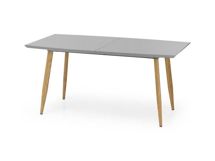 Nowoczesny szary stół z lakierowanym blatem 160x90, rozkładany Drewno Długość 200 cm  Szerokość 90 cm Wysokość 76 cm Płyta MDF Stal Rozkładanie Rozkładane Długość 160 cm  Styl Minimalistyczny
