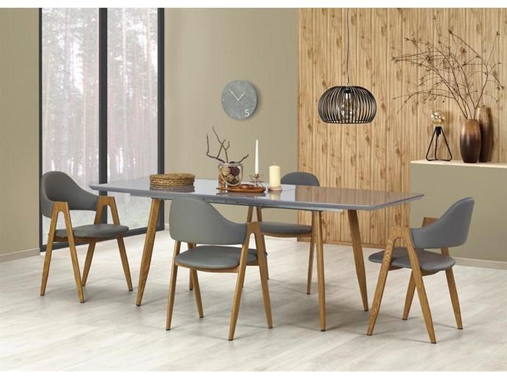 Nowoczesny szary stół z lakierowanym blatem 160x90, rozkładany Szerokość 90 cm Płyta MDF Wysokość 76 cm Stal Drewno Długość 200 cm  Długość 160 cm  Kategoria Stoły kuchenne