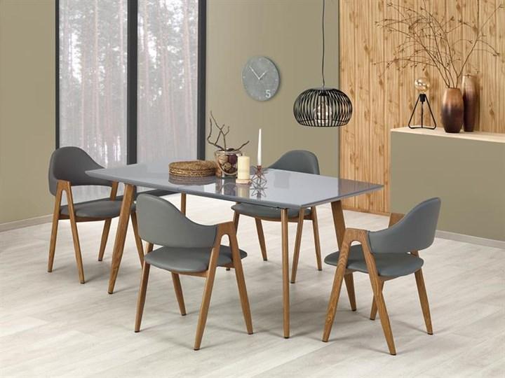 Nowoczesny szary stół z lakierowanym blatem 160x90, rozkładany Długość 160 cm  Szerokość 90 cm Stal Płyta MDF Długość 200 cm  Drewno Wysokość 76 cm Pomieszczenie Stoły do jadalni