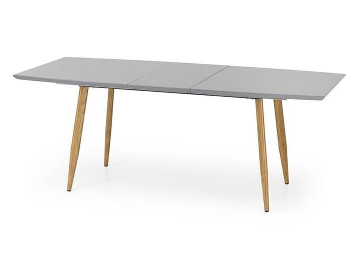 Nowoczesny szary stół z lakierowanym blatem 160x90, rozkładany Wysokość 76 cm Stal Długość 160 cm  Długość 200 cm  Szerokość 90 cm Płyta MDF Drewno Styl Minimalistyczny