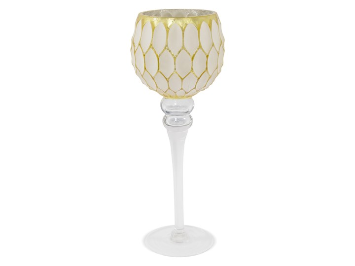 Świecznik - złoty kielich Asko 30 cm Kolor Biały Świeca Podgrzewacz Kategoria Świeczniki i świece