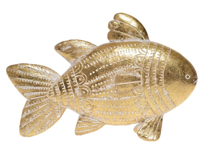 Złota ryba rzeźba pozłacana Hin 21x15 cm Tworzywo sztuczne Kolor Beżowy Ryby Zwierzęta Kategoria Figury i rzeźby