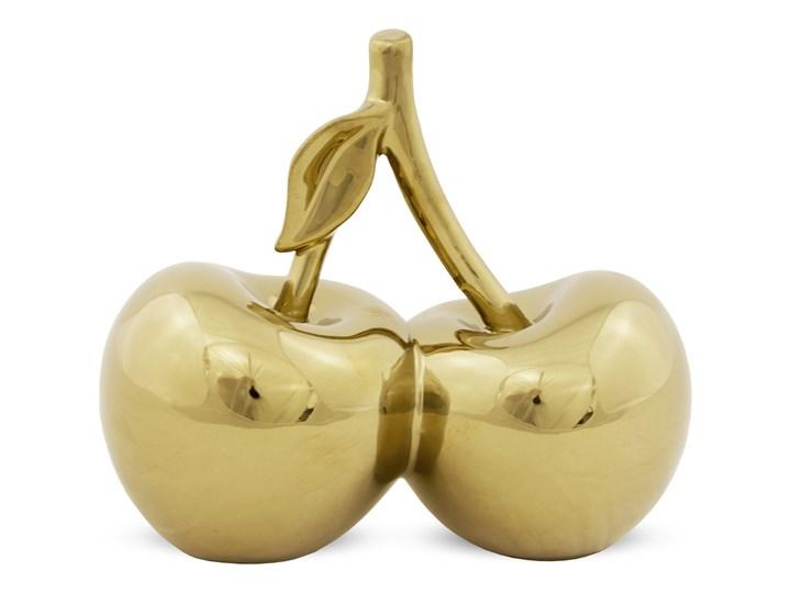 Złote, dekoracyjne wiśnie Hamilt 19 cm Owoce Ceramika Kolor Beżowy