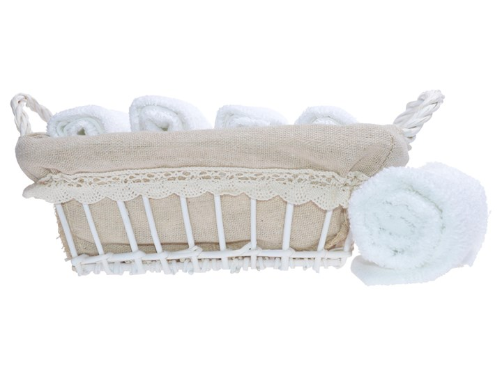 Komplet ręczników w koszyku Mead 5 szt. 30x30 cm Bawełna Ręcznik do rąk Dziecięce Kolor Szary