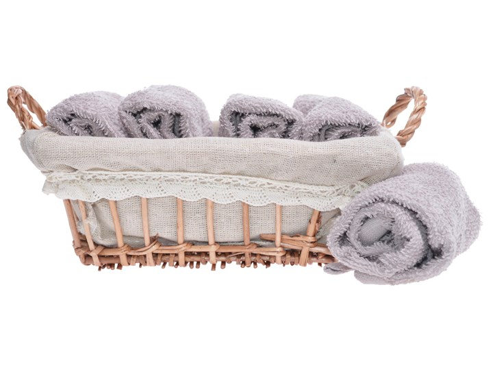 Komplet ręczników w koszyku Vei 5 szt. Bawełna Ręcznik do rąk Dziecięce 30x30 cm Kolor Szary Kategoria Ręczniki