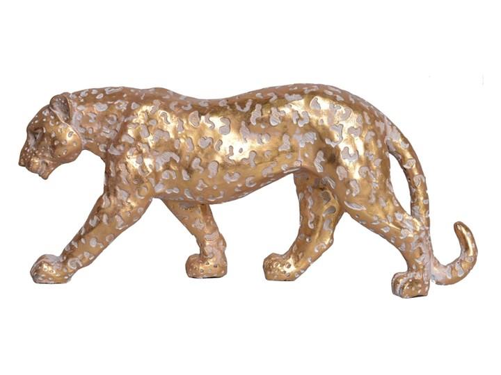 Figurka — złoty lampart Filo 41,5 cm Tworzywo sztuczne Kolor Szary Zwierzęta Kategoria Figury i rzeźby