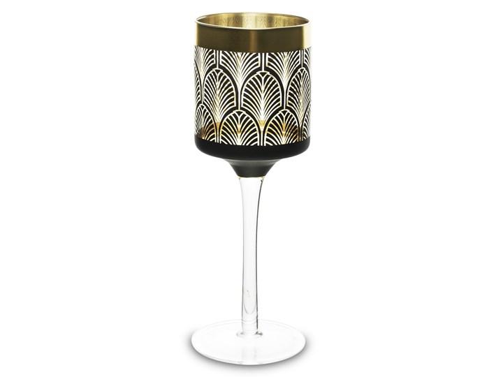 Szklany świecznik - kielich Elvi 20 cm Kolor Czarny Kategoria Świeczniki i świece