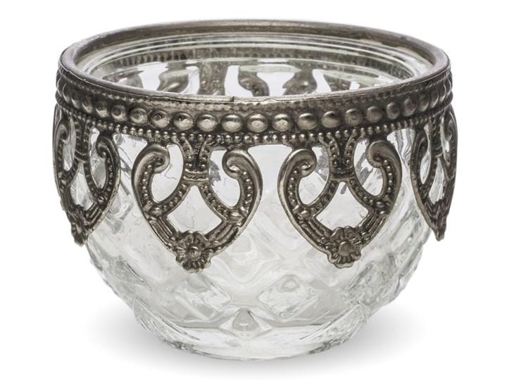 Szklany, okrągły świecznik Toko 7x7 cm Podgrzewacz Świeca Kolor Szary