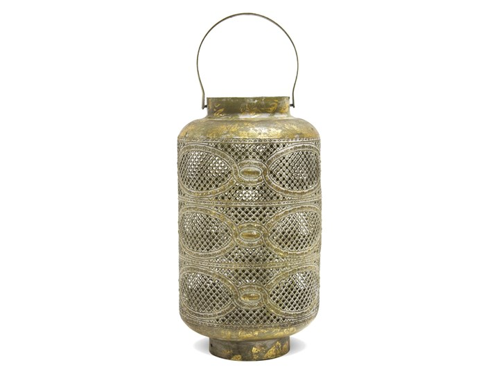Złoty, ażurowy lampion Edo 37 cm Kolor Szary Metal Kategoria Lampiony