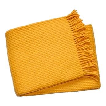 Żółty pled Euromant Waffle, 140x160 cm