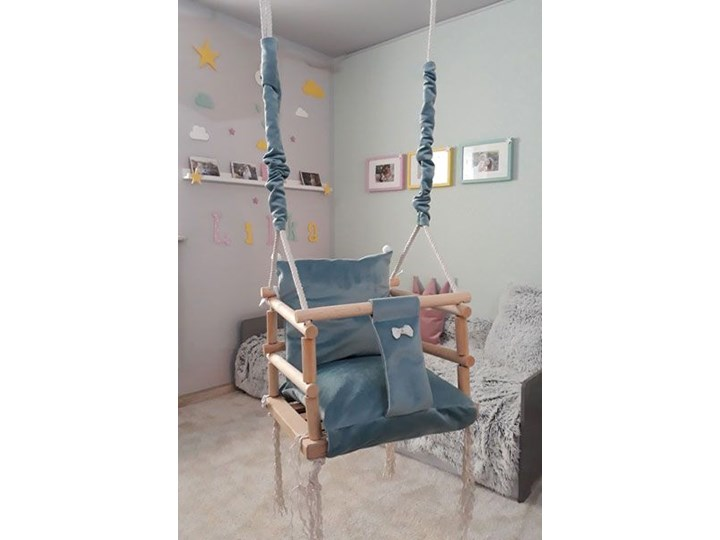 Turkusowo-niebieska huśtawka dla chłopca - Naomi 3w1 Kubełkowa Kategoria Huśtawki dla dzieci