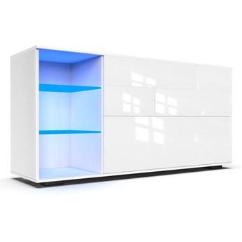 Komoda do salonu Carla XL z oświetleniem LED biały połysk - Meb24.pl
