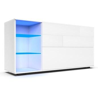 Komoda do salonu Carla XL z oświetleniem LED biały mat - Meb24.pl