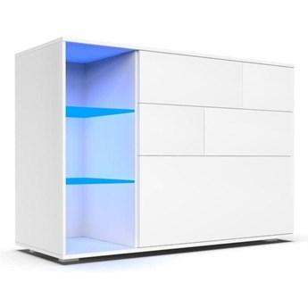 Komoda do salonu Carla z oświetleniem LED biały mat - Meb24.pl