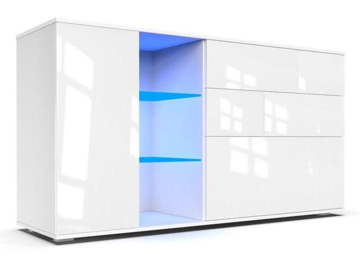 Komoda do salonu Carla 1D z oświetleniem LED biały połysk - Meb24.pl