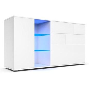 Komoda do salonu Carla 1D z oświetleniem LED biały mat - Meb24.pl