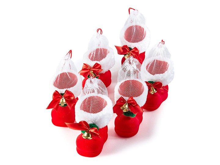 Ozdobne buty świętego Mikołaja na prezenty (6 szt.)   bonprix Kolor Biały Kategoria Ozdoby bożonarodzeniowe
