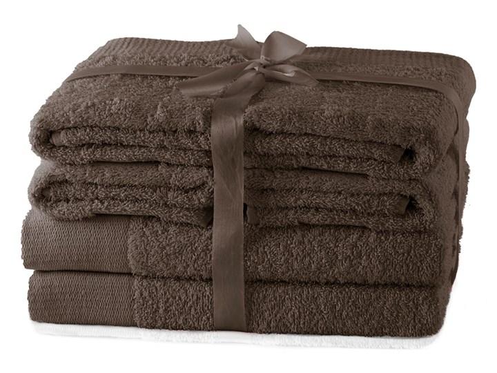 AmeliaHome - Ręcznik kąpielowy Bawełniany Gładki Brązowy AMARI - 2*70x140+ 4*50x100